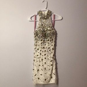 Fully beaded white mini dress by Blush prom